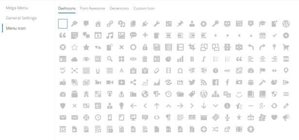 wordpress menü ikonları
