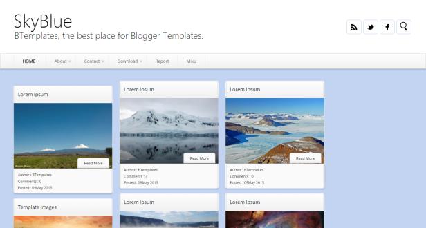 SkyBlue blogger teması