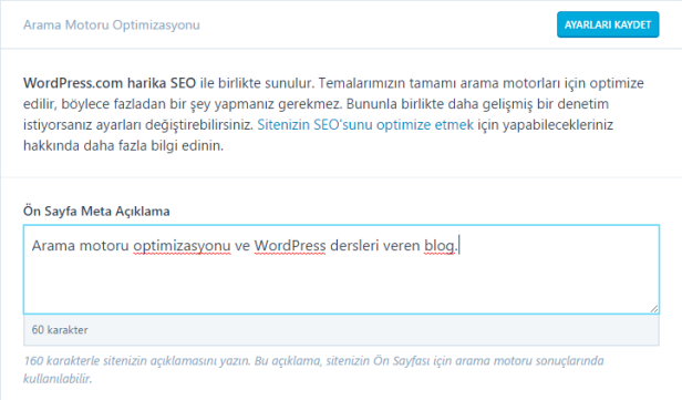 Meta Description ayarları